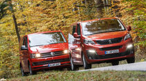 VW Multivan 2.0 TDI, Peugeot Traveller HDi 150 L2, Frontansicht