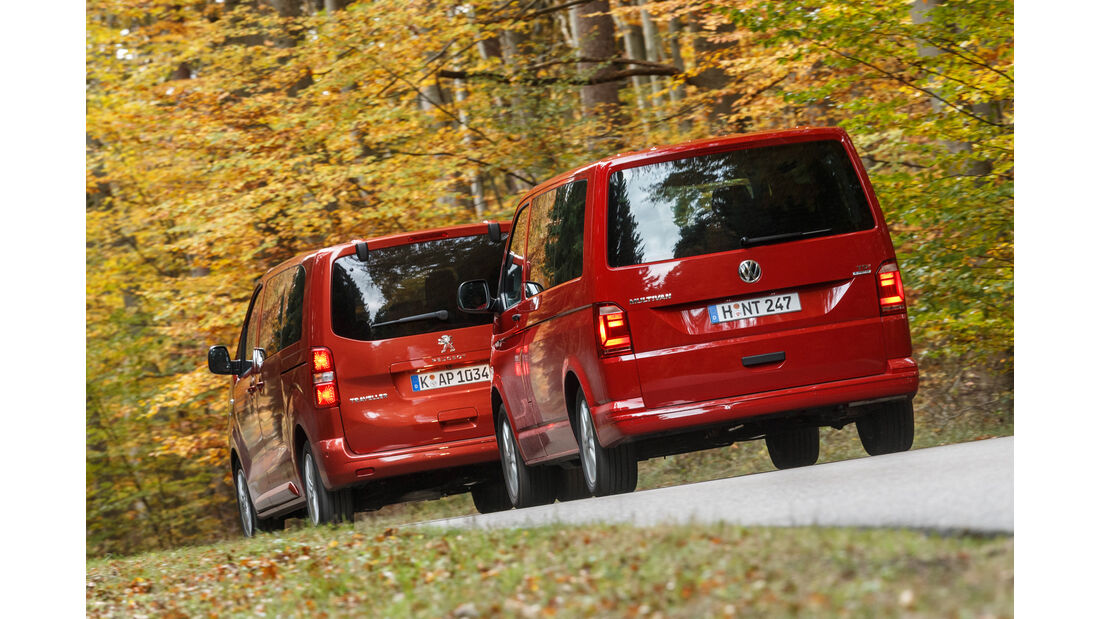 VW Multivan 2.0 TDI, Peugeot Traveller HDi 150 L2, Heckansicht