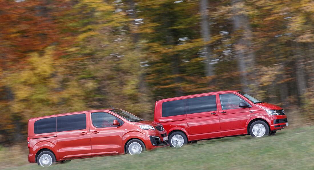 VW Multivan 2.0 TDI, Peugeot Traveller HDi 150 L2, Seitenansicht