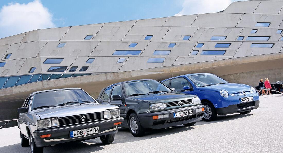 VW Passat Formel E, VW Golf Ecomatic, VW Lupo 3L, Frontansicht