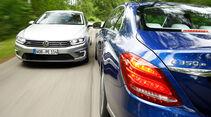 VW Passat GTE, Mercedes C 350 e, Ausfahrt