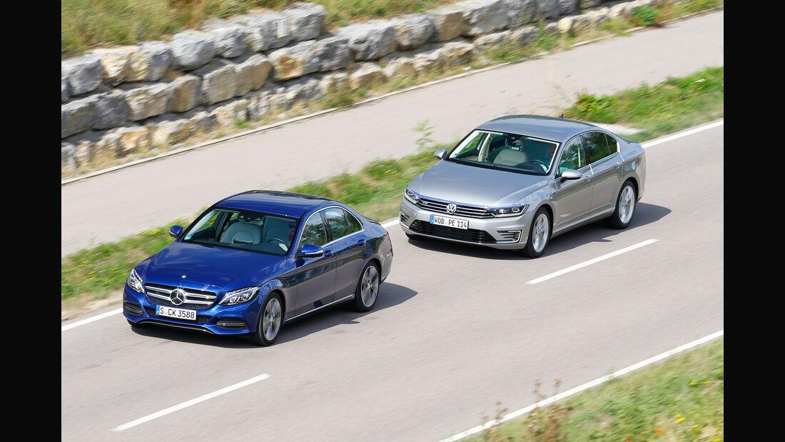 VW Passat GTE, Mercedes C 350 e, Frontansicht