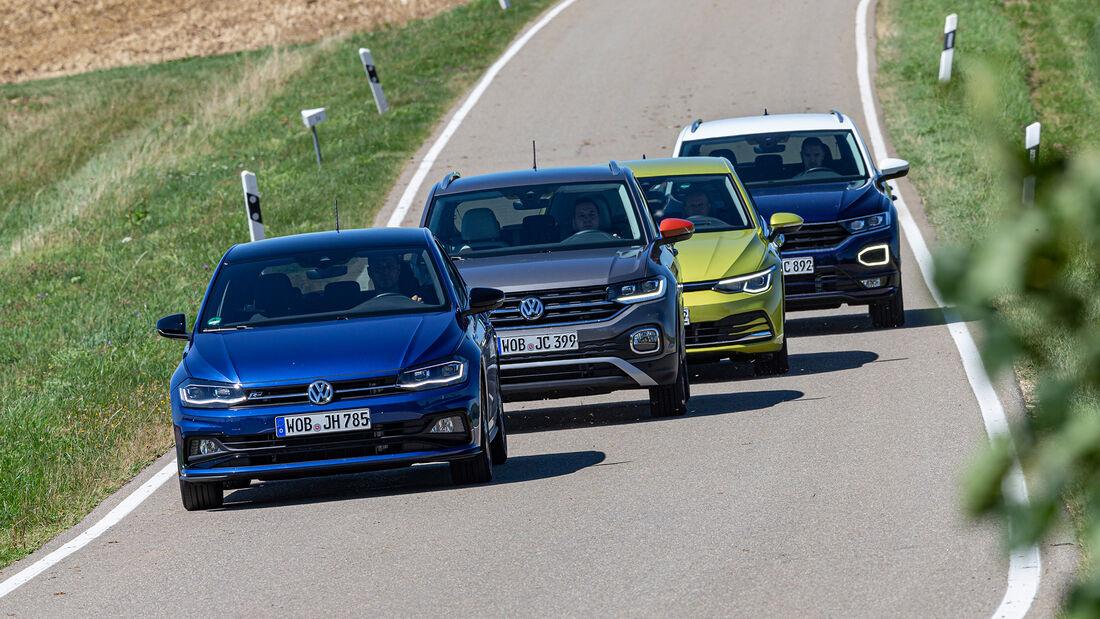 VW Polo 1.5 TSI Highline, VW T-Cross 1.5 TSI Life, VW T-Roc 1.5 TSI Style, VW Golf 1.5 eTSI Life, Exterieur