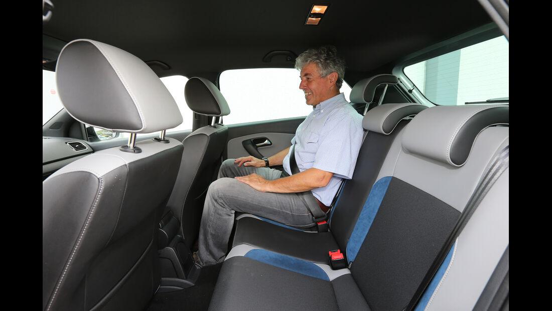 VW Polo Blue GT, Rücksitz, Beinfreiheit