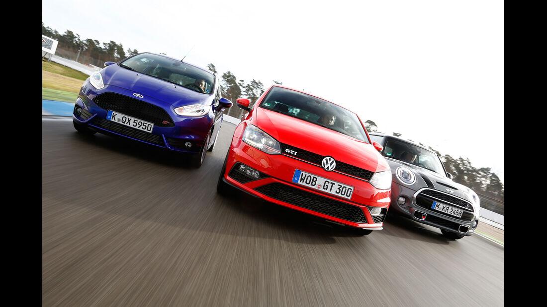 VW Polo GTI, Ford Fiesta ST, Mini Cooper S, Frontansicht