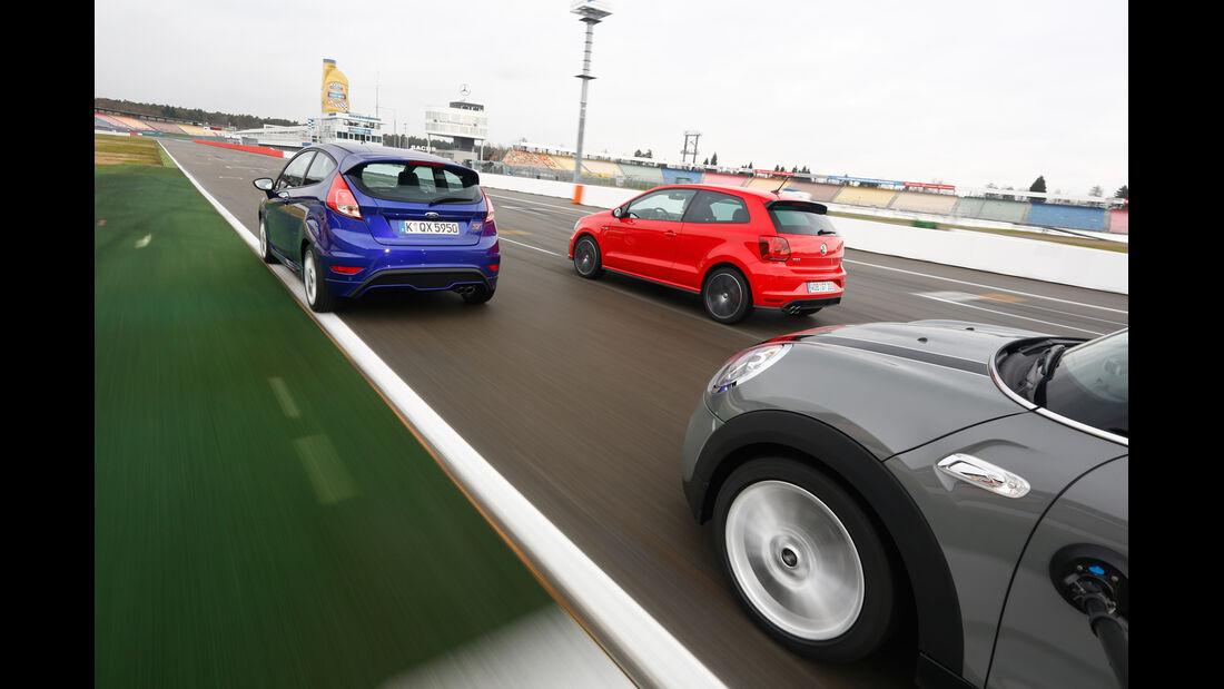 VW Polo GTI, Ford Fiesta ST, Mini Cooper S, Heckansicht