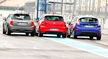 VW Polo GTI, Ford Fiesta ST, Mini Cooper S, Heckansicht