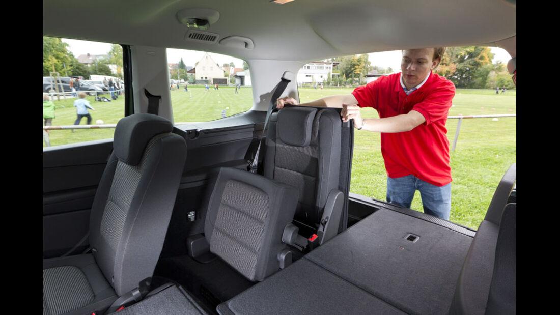 VW Sharan, Kofferraum, Fond, dritte Sitzreihe