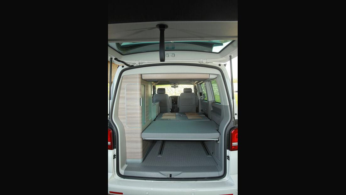 VW T5 California, Kofferraum, Stauraum, Bett
