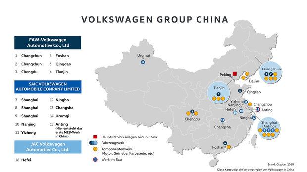 VW Überblick über alle Werke in China