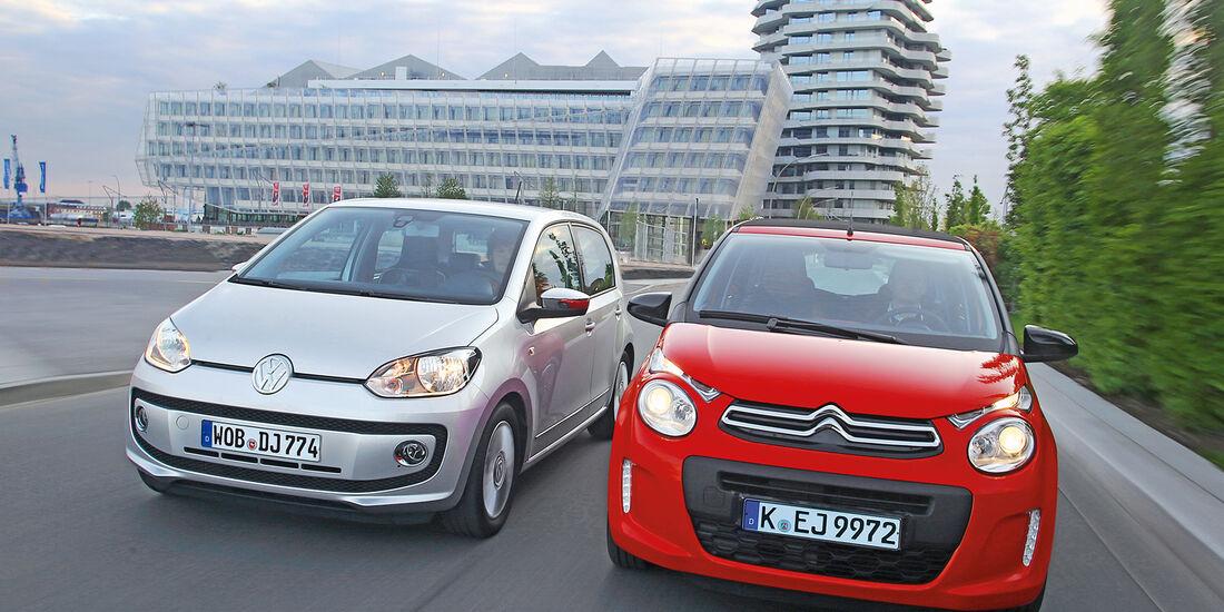 VW Up 1.0 Bluemotion, Citroën C1 Airscape VTi 82, Frontansicht