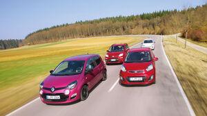 VW Up 1.0, Kia Picanto 1.2, Renault Twingo 1.2, Fiat Panda 0.9 Twinair, Front