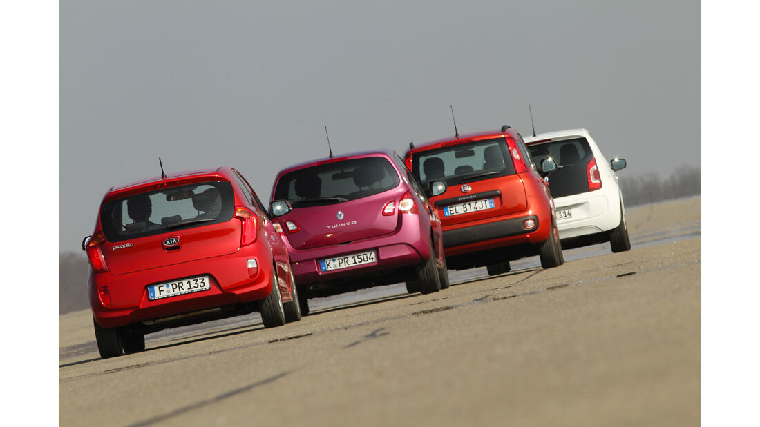 VW Up 1.0, Kia Picanto 1.2, Renault Twingo 1.2, Fiat Panda 0.9 Twinair, Heck