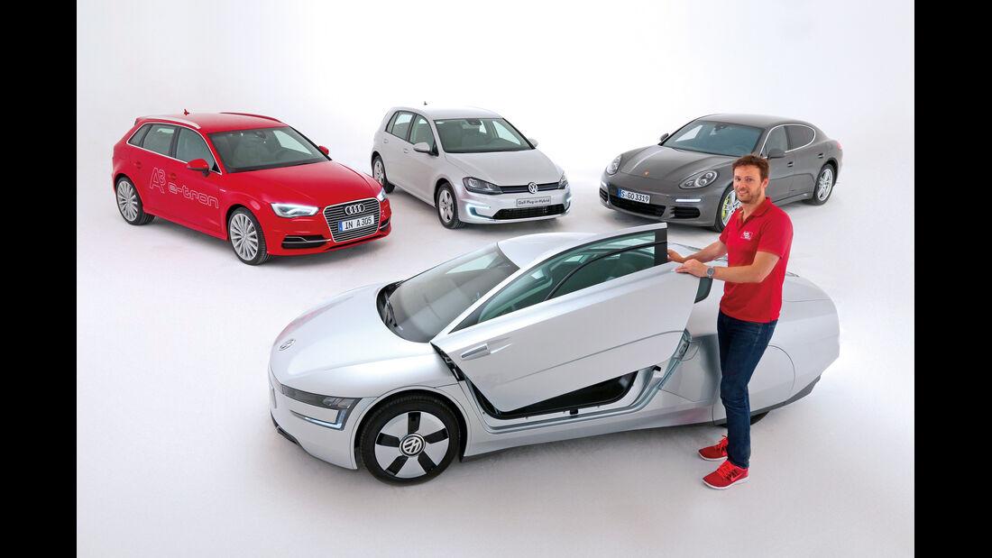 VW XL1, Audi A3 E-Tron, Golf Plug-in-Hybrid, Porsche Panamera e-Hybrid