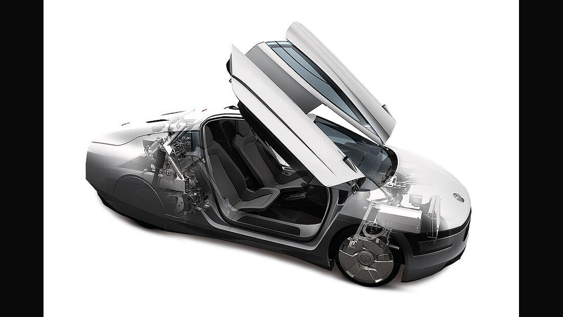 VW XL1, Einliter-Auto, Flügeltüren