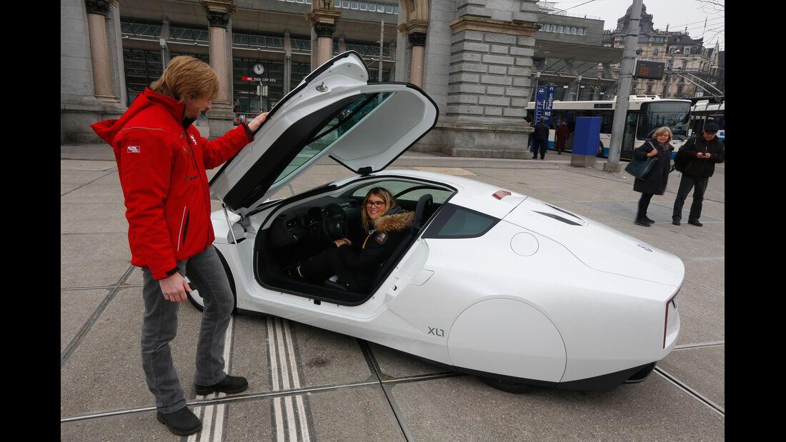VW XL1, Heckansicht, Marcus Peters, Sitzprobe