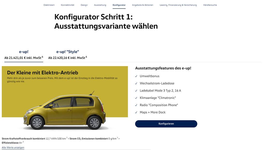 VW e-Up Konfigurator