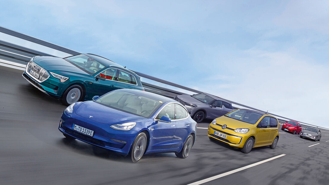 VW e-up, Hyundai Ioniq, DS3 E-Tense, Renault Zoe, Tesla Model 3, Audi e-tron, exterieur