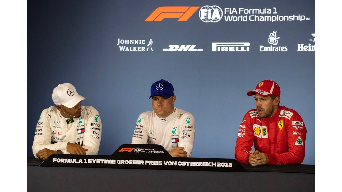 Valtteri Bottas - Mercedes - Lewis Hamilton - Sebastian Vettel - Ferrari - Formel 1 - GP Österreich - 30. Juni 2018