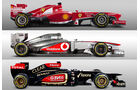 Vergleich Ferrari Lotus McLaren 2013