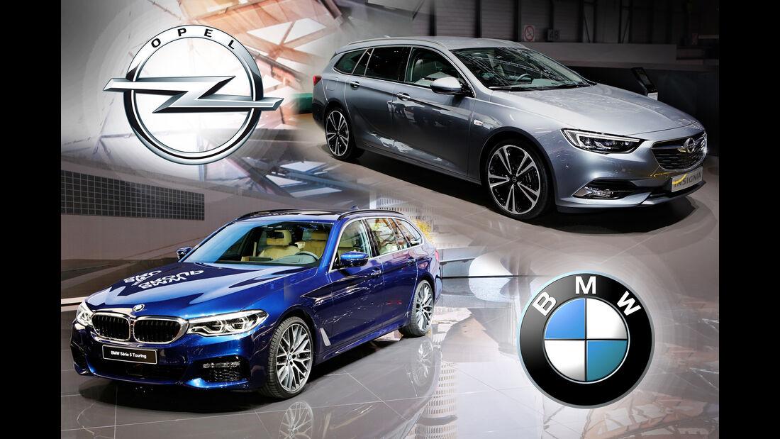 Vergleich Opel Insignia BMW 5er Touring Genf Autosalon 2017
