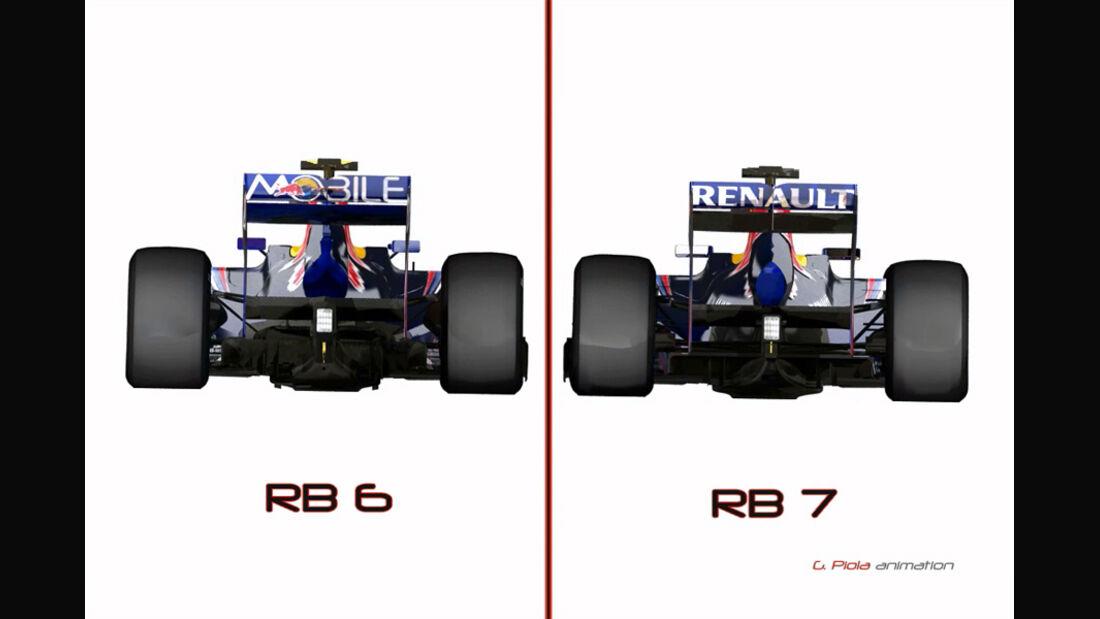 Vergleich Red Bull RB6 vs. RB7