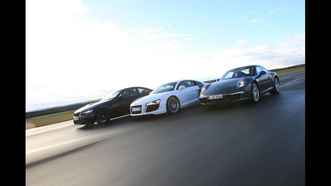 Vergleichstest Porsche 911, M3, R8