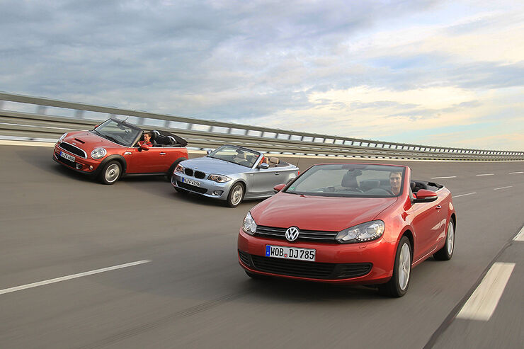 Vergleichstest VW Golf Cabrio, mini Cooper S Cabrio, BMW 1er Cabrio