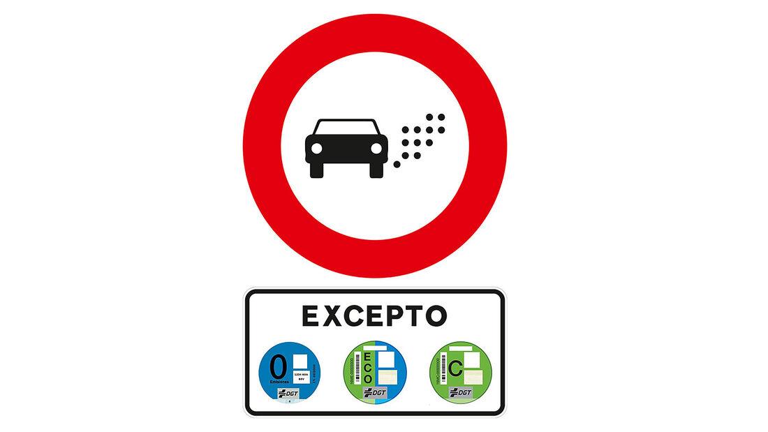 Verkehrsschild Umweltzone Spanien