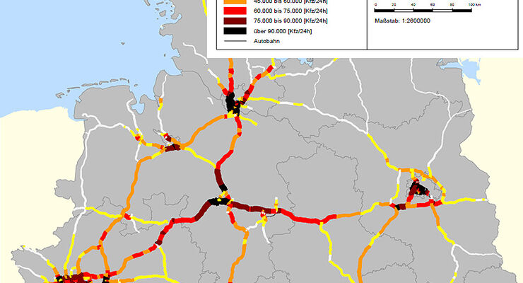 Verkehrszählung Autobahn 2011 Nord