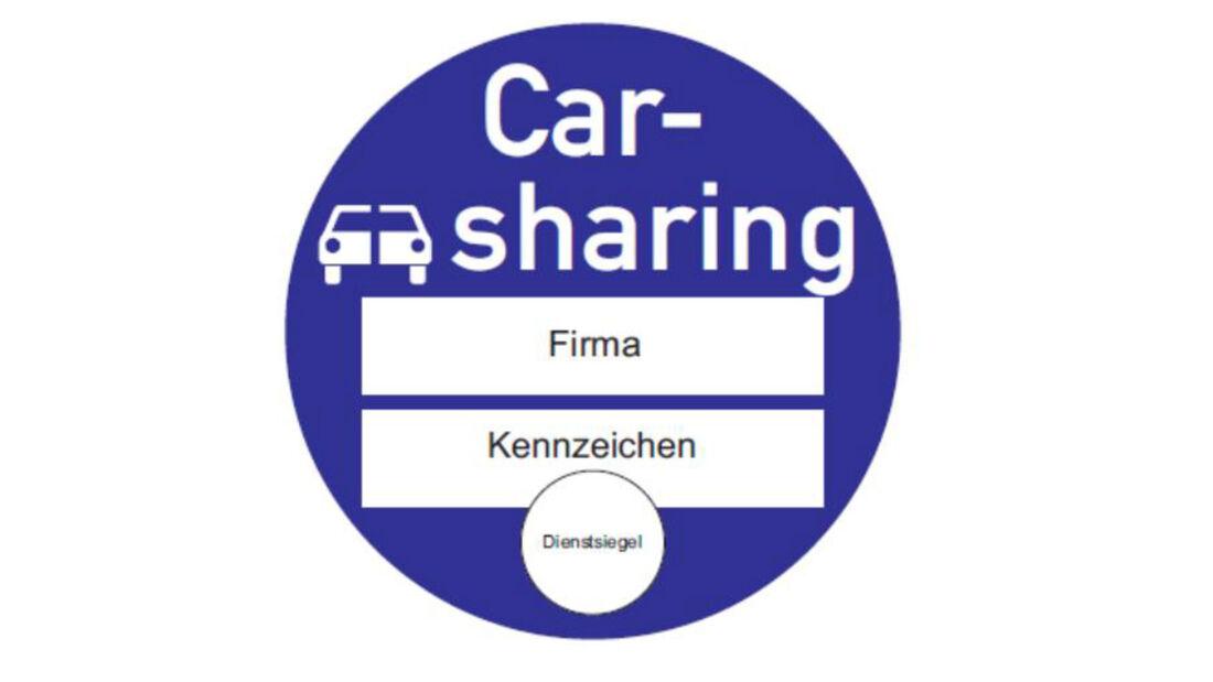 Verkehrszeichen Carsharing Plakette