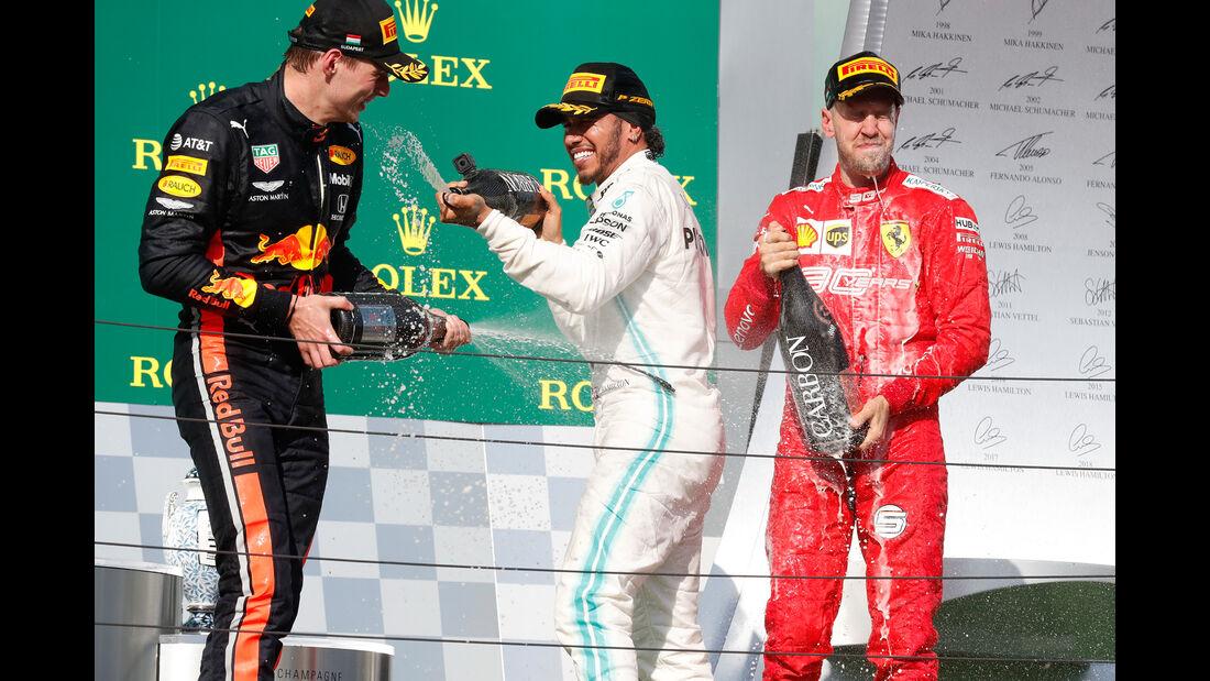 Verstappen -Hamilton - Vettel - GP Ungarn 2019 - Budapest - Rennen