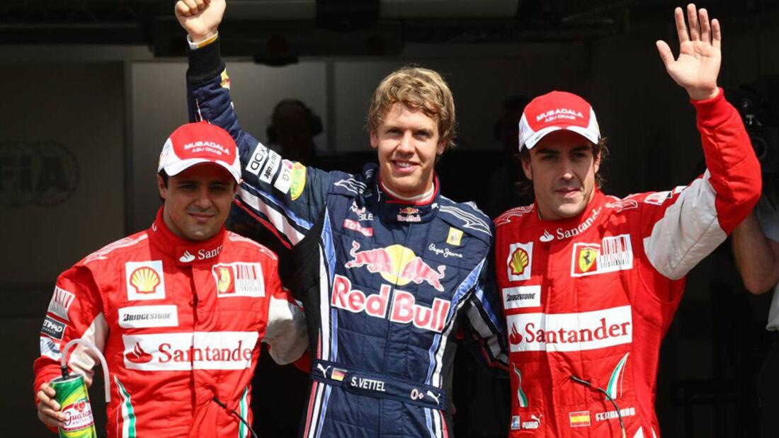 Vettel, Alonso und Massa