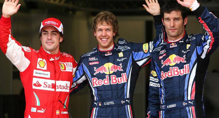 Vettel, Alonso und Webber