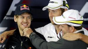Vettel, Button und Barrichello