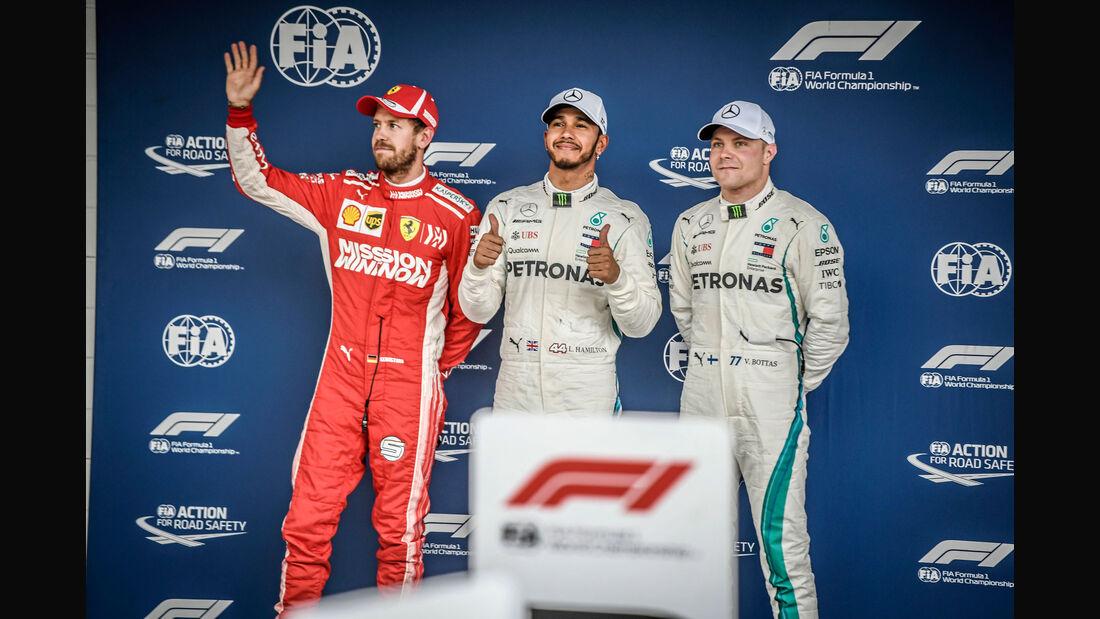 Vettel - Hamilton - Bottas - GP Brasilien - Interlagos - Formel 1 - Samstag - 10.11.2018