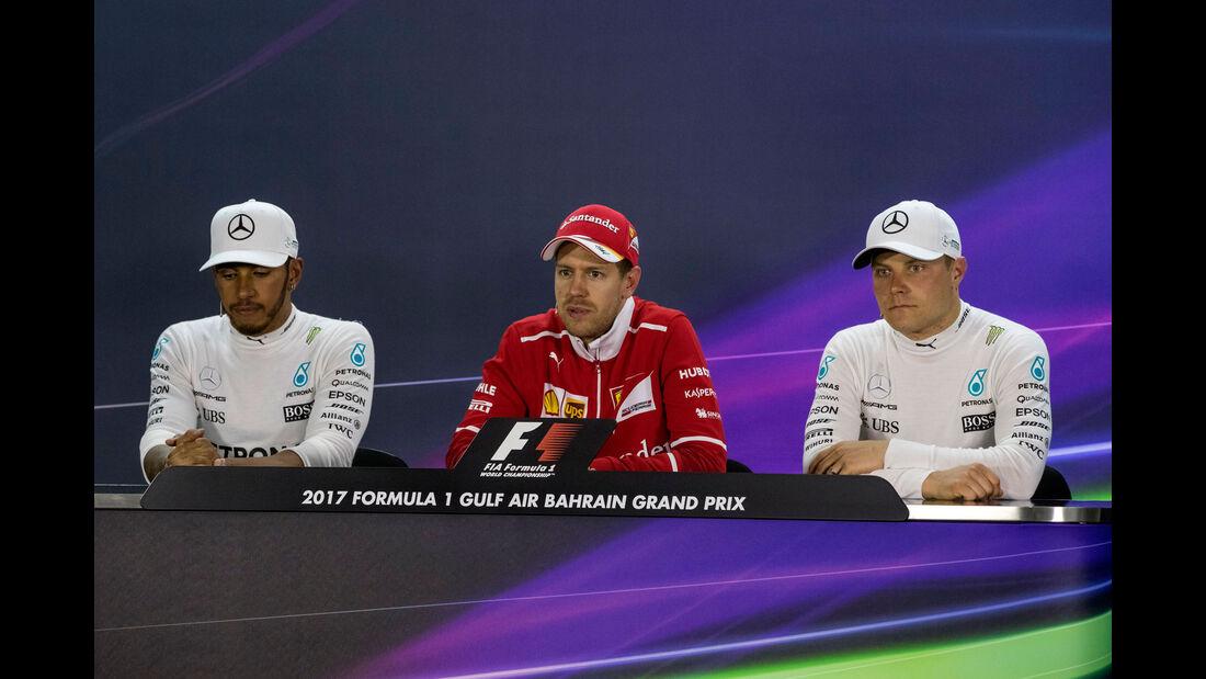 Vettel - Hamilton - Bottas - PK -  GP Bahrain 2017 - Rennen