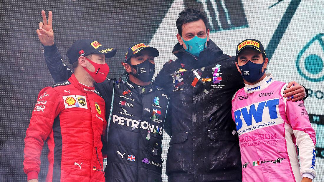 Vettel - Hamilton - Wolff - Perez - GP Türkei 2020 - Istanbul - Rennen