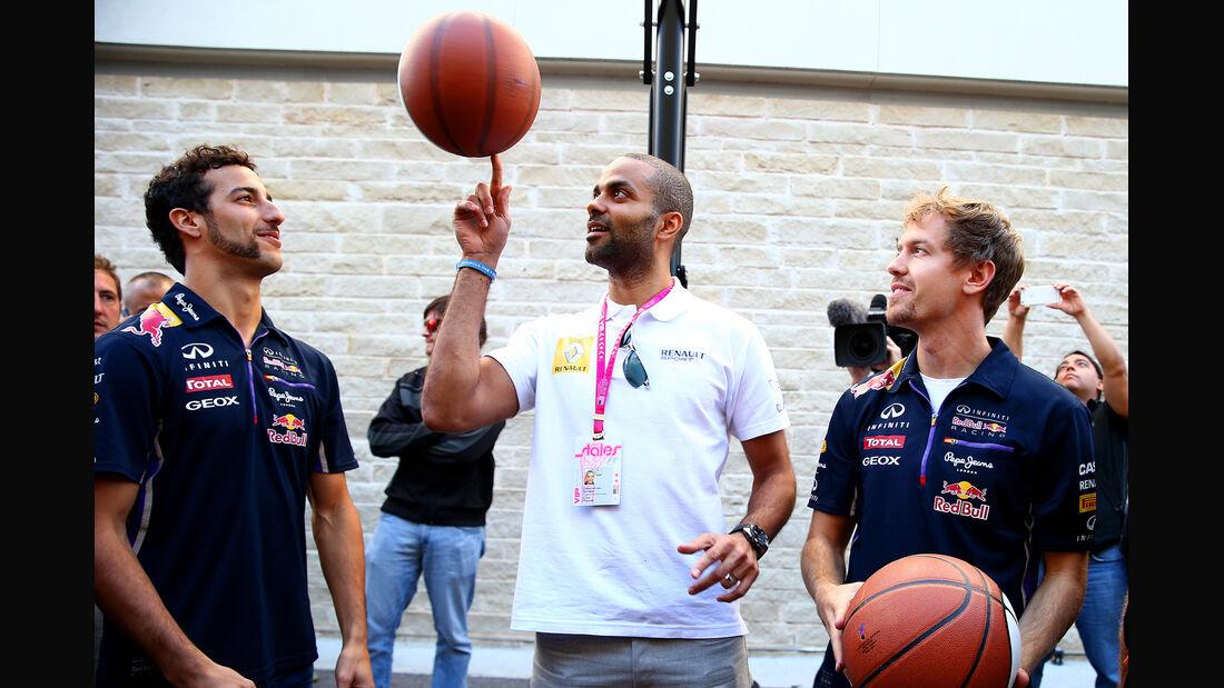 Vettel, Ricciardo & Tony Parker - GP USA 2014