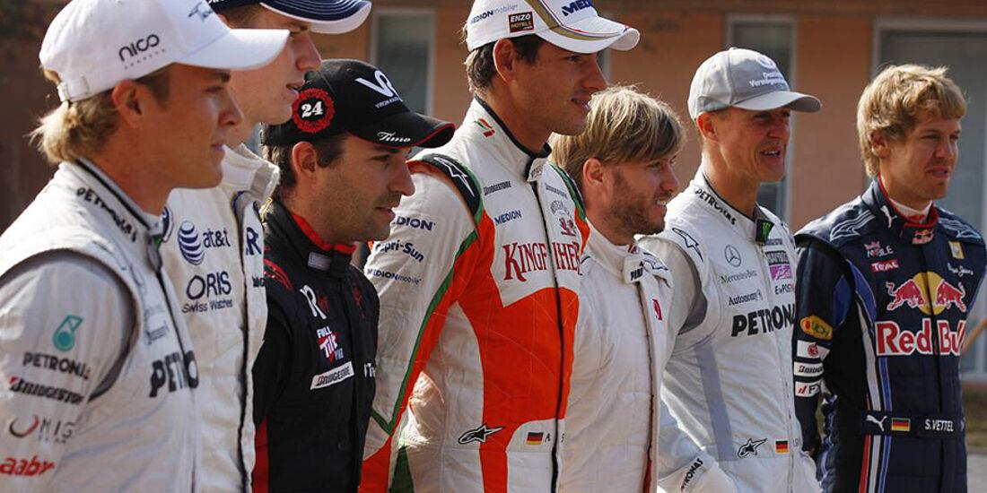Vettel Rosberg Sutil Schumacher Heidfeld Hülkenberg Glock