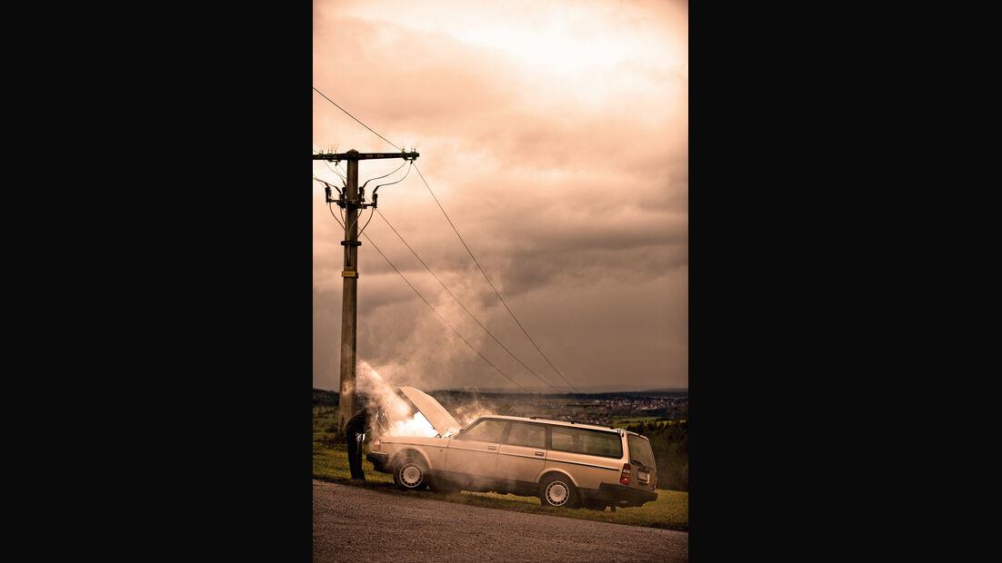 Volvo 760, Seitenansicht, Unfall