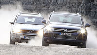 Volvo XC 90 D5 AWD Summum, VW Touareg V6 TDI Blue Motion, Frontansicht