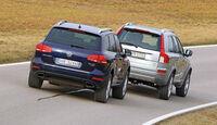 Volvo XC 90 D5 AWD Summum, VW Touareg V6 TDI Blue Motion, Heck