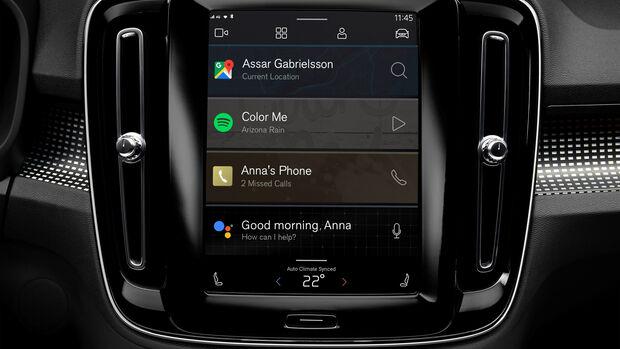 Volvo XC40 Elektro, Google Android Auto OS, Screen