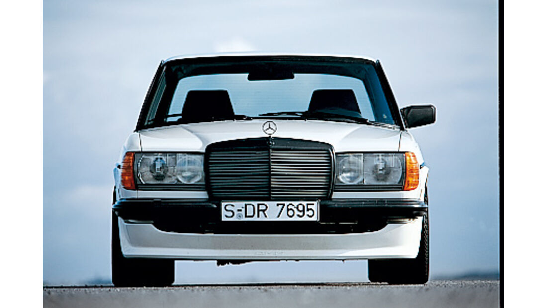 W123-Mercedes mit AMG-Karosserie-Kit
