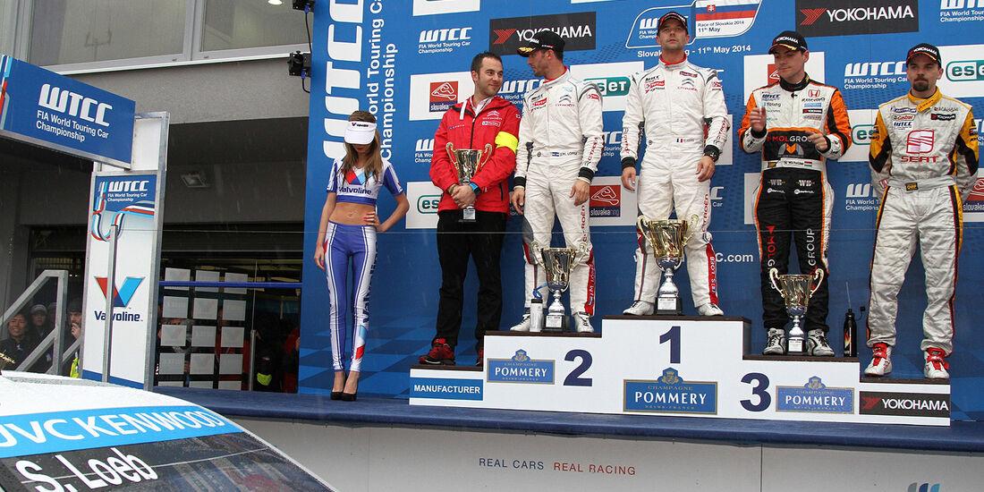 WTCC 2014, Slowakei, Siegerehrung, Sebastien Loeb