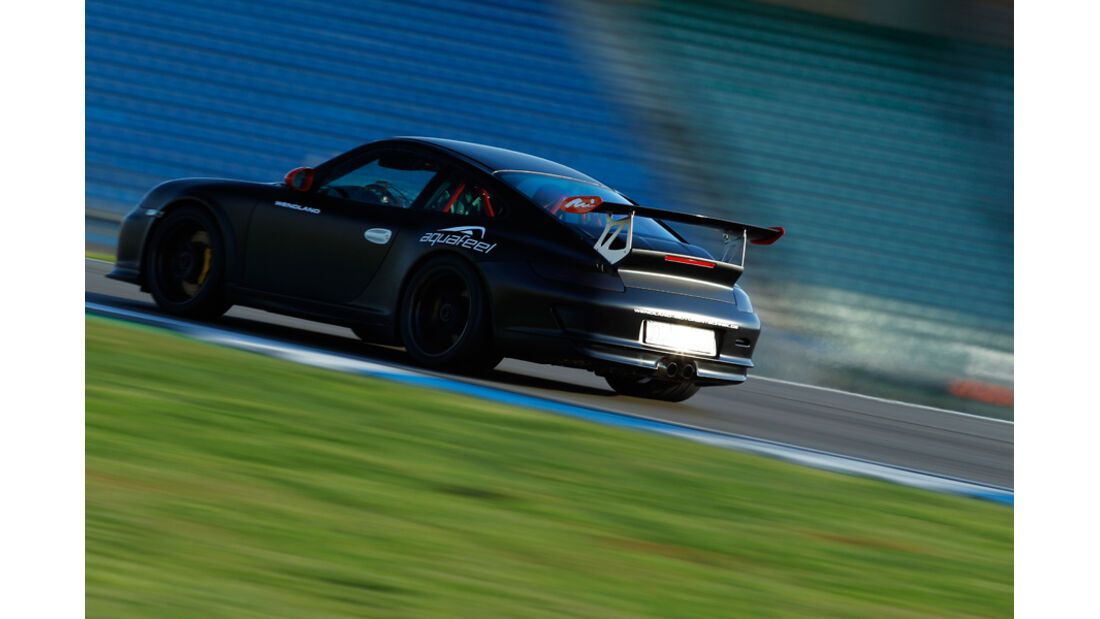 Wendland-Porsche 997 GT3 WRS 510, Rückansicht, Heckspoiler, Rennstrecke