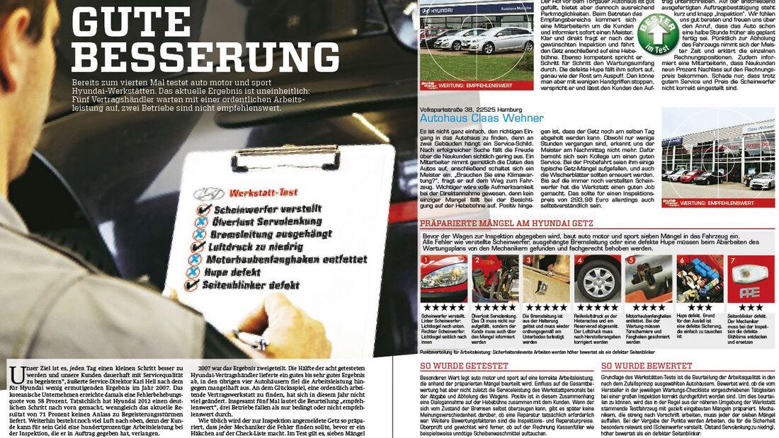 Werkstätten-Test 2012, Artikel
