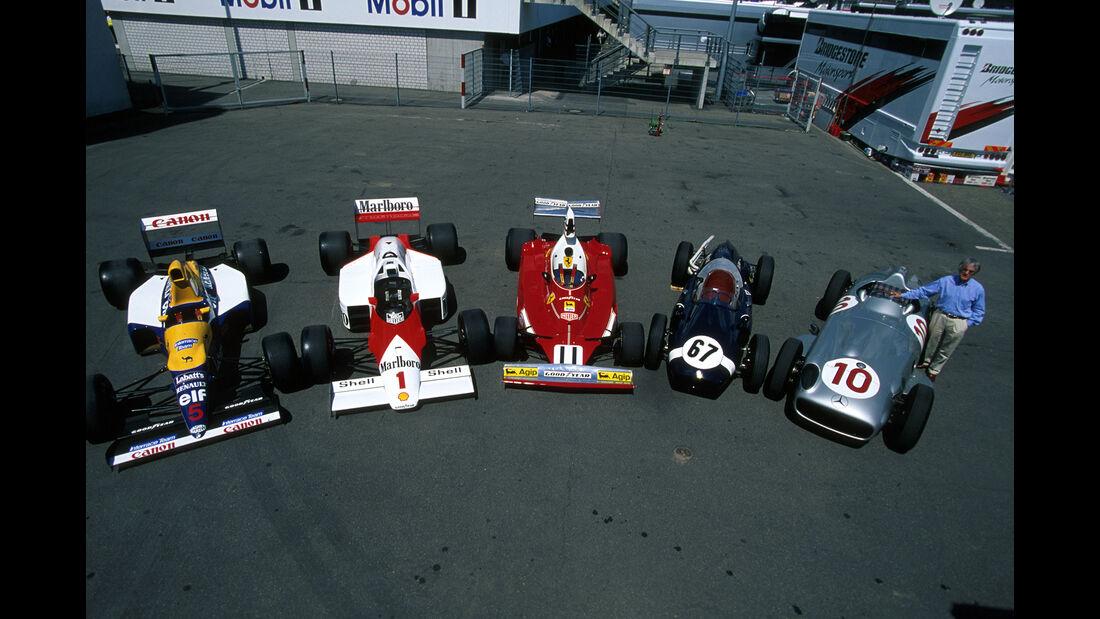 Williams-Renault FW14 - McLaren MP4-2C - Ferrari 312T - Cooper-Climax T51 - Mercedes-Benz W 196 - Bernie Ecclestone - Hockenheim 1999