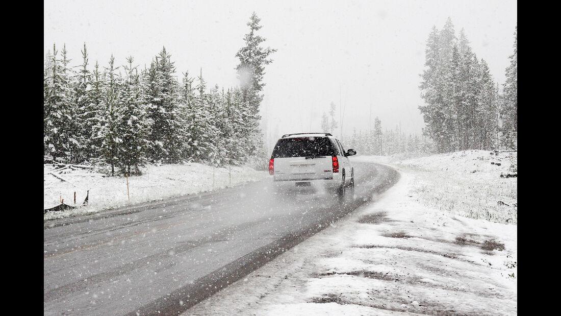 Winter, Schnee, Straße, Auto